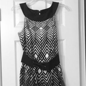 WHBM Black and White fit and flare Dress